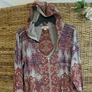 One World Hooded Top Zip Front L Red Beige